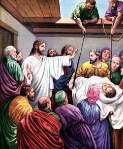 Jesus heals the man let down through the roof.